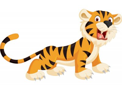 Naklejka Cute Tygrys cartoon ryk