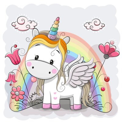 Naklejka Cute Unicorn Cartoon na łące
