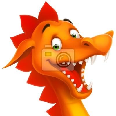 cute uśmiechnięta smok w kreskówce lub zabawka samodzielnie na białym tle
