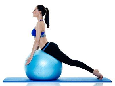 Naklejka Ćwiczenia kobieta fitness pilates izolowane