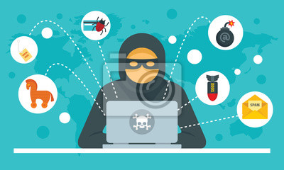Naklejka Cyber attack concept background. Flat illustration of cyber attack vector concept background for web design