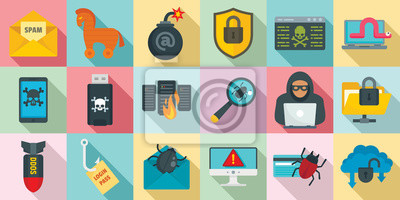 Naklejka Cyber attack icons set. Flat set of cyber attack vector icons for web design