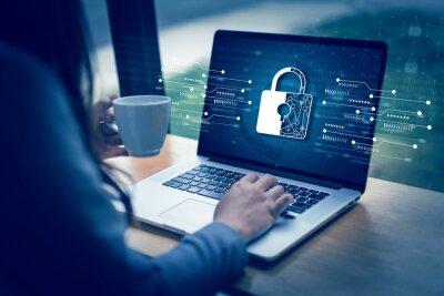 Naklejka CYBER SECURITY Business  technology Antivirus Alert Protection Security and Cyber Security Firewall Cybersecurity and information technology