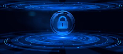 Naklejka Cyber security data privacy concept on virtual screen.