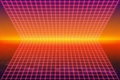 cyberpunk neon grid 1980's style retro sci-fi background