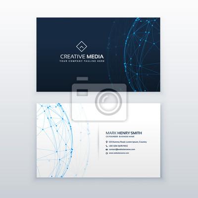 Cyfrowe niebieskie wizytówki wektor projektowania