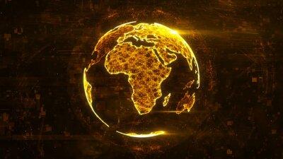 Naklejka Cyfrowe streszczenie świecie wykonane z linii świecące splotu. Struktura technologii biznesowej pomarańczowe linie, kropki i cząstki. Kontynent afrykański. 3d rendering