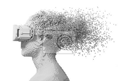Cyfrowy mężczyzna nosi okulary rzeczywistości wirtualnej rozpada się na pikselach 3D na białym tle