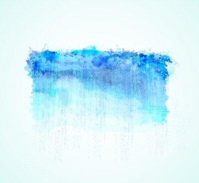 Cyjan i niebieskie plamy akwarela. Jasny element abstrakcyjnego tła artystycznego.