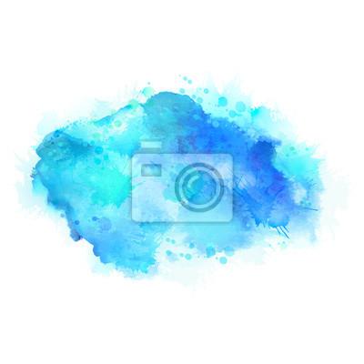 Cyjan i niebieskie plamy z akwareli. Jasny element abstrakcyjne tło artystyczne.