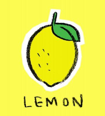 Naklejka Cytryna na żółtym tle