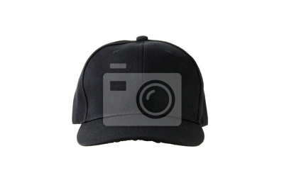 czarna czapka płótno, na białym tle