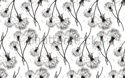 Naklejka Czarna dandelions bezszwowa tekstura