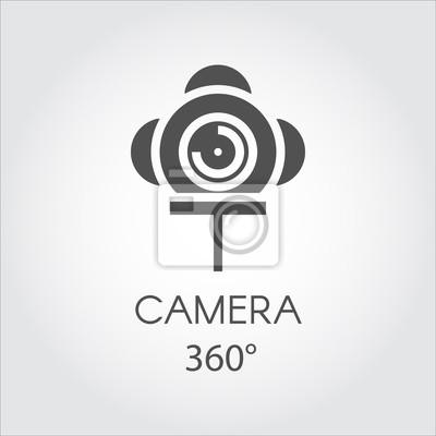 Czarna płaska ikona linii kamery 360 stopni. Pojęcie wirtualnej panoramy. Etykieta rysowana w płaskim stylu na szarym tle. Ilustracji wektorowych. Logo dla Twoich potrzeb projektowych