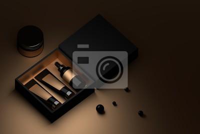 Naklejka Czarna skrzynka z opakowaniem kosmetycznym i czarnymi perłami. Kremowe butelki do twarzy w pudełku. Znakowanie opakowań pustymi powierzchniami. 3D ilustracji.