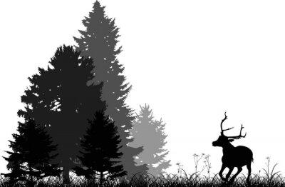 Naklejka czarne jelenie prowadzące do lasu jodły wyizolowanych na białym