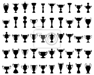 Naklejka Czarne sylwetki Cup Trophy, ilustracji wektorowych