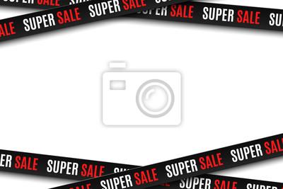 Naklejka Czarni faborki dla super sprzedaży odizolowywającej na białym tle. Paski do twojego projektu. Wielka wyprzedaż. Elementy graficzne. Ilustracji wektorowych