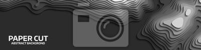 Naklejka Czarno-biała fala. Streszczenie cięcia papieru. Streszczenie kolorowe fale. Faliste banery. Kolorowa forma geometryczna. Fala wycinana falą. Linia mapy topografii. Infografika mapa makieta. Ilustracji