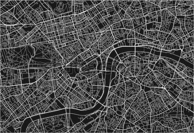 Naklejka Czarno-biała mapa miasta Londynu z dobrze zorganizowane oddzielne warstwy.