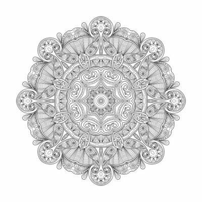 Naklejka Czarno-białe abstrakcyjne okrągły wzór mandali etnicznych.