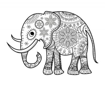 Naklejka Czarno-białe zdobione słoń na biały, słoń, porcelany vettoriale da colorare Su sfondo bianco