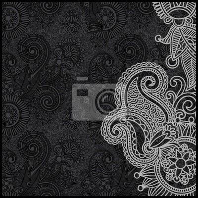czarno-biały kwiatowy wzór