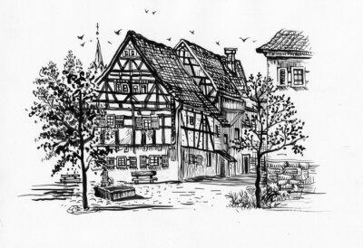 Czarno-biały szkic budynku i drzewa