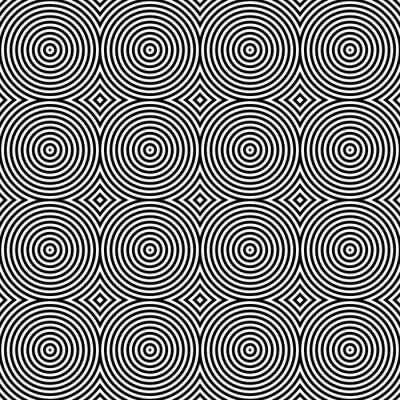 Naklejka Czarno-biały wzór psychodeliczny Circular tekstylne.