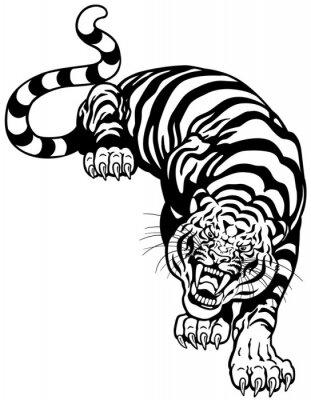 Naklejka czarny biały tygrys