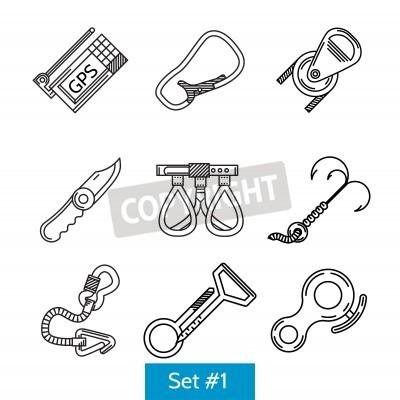 Czarny flatline ikony kolekcję akcesoriów do wspinaczki lub wspinaczki