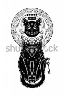 Naklejka Czarny kot sylwetka portret z tajnym kluczem w tle księżyca. Idealne tło Halloween, sztuka tatuażu, projekt boho. Idealny do druku, plakatów, koszulek, tekstyliów. Ilustracji wektorowych.