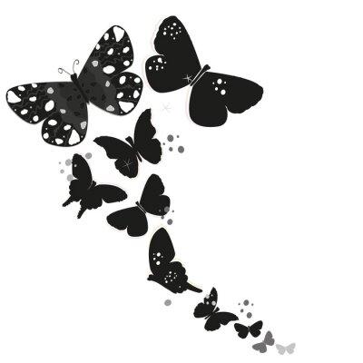 Naklejka Czarny motyl i abstrakcyjny wzór kwiatów ozdobnych wektora tle
