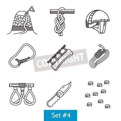 Czarny płaska linia ikony zbiór elementów do wspinaczki