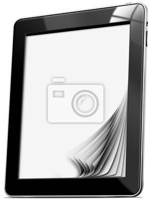Czarny tablet z pustych stron na białym tle