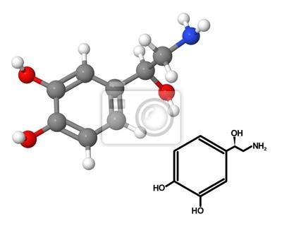 Cząsteczka Norepinephrine o wzorze chemicznym