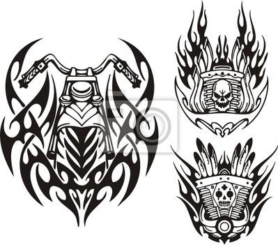Czaszki, demon i kół motocykla. Tribal bikes.