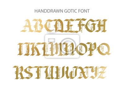 Czcionka gotycka Blackletter ręcznie rysowane czcionki. Ozdobne litery w stylu vintage.