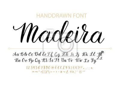 Czcionka Handdrawn Vector Script. Pędzel stylu teksturowanej kaligrafii kursywa czcionki.