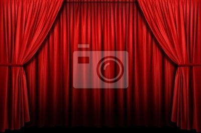Czerwona kurtyna etap z łuku wejścia