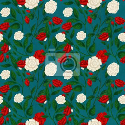 Czerwone i białe róże, Alicja w krainie czarów, bezszwowy tło