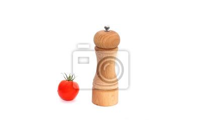czerwone pomidory obok brązowy drewniane Solniczka
