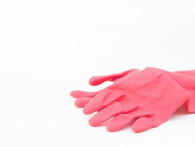 czerwone rękawice gumowe na białym tle