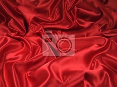 Naklejka czerwone satynowe tkaniny [ krajobraz ]
