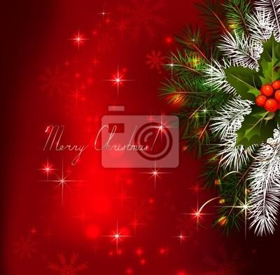 Czerwone tło z Boże Narodzenie choinki i holly
