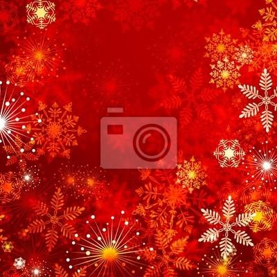 czerwone tło z płatki śniegu
