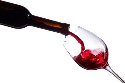 Naklejka Czerwone wino na białym tle