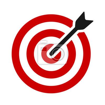 Naklejka Czerwony cel bullseye ze strzałką lub spersonalizowaną marketingu płaski kolor ikony wektor dla aplikacji i stron internetowych