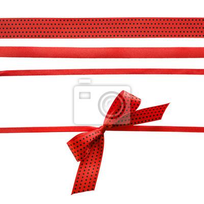 Czerwony i czarny Polka Dot wstążka z kokardą