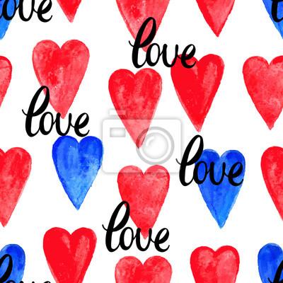 czerwony i niebieski serca akwarela
